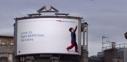 BRILLIANT!  The nifty bit is that the billboards have been programmed so that whenever a BA flight passes by, the child on the billboard gets up and points to it. | These Interactive Billboards For British Airways Are Rather Nifty