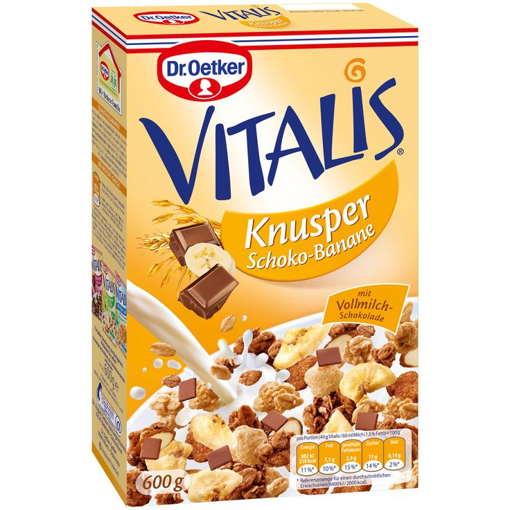-in USA- Dr.Oetker VITALIS Breakfast Muesli/Cereal with Chocolate and Banana - 600 g