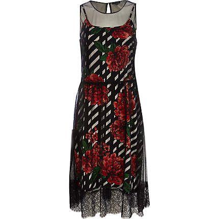 Red rose print mesh overlay dress $50.00