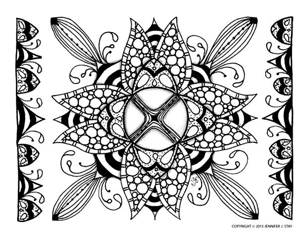 coloring page adults zen relaxing art drawing exclusive