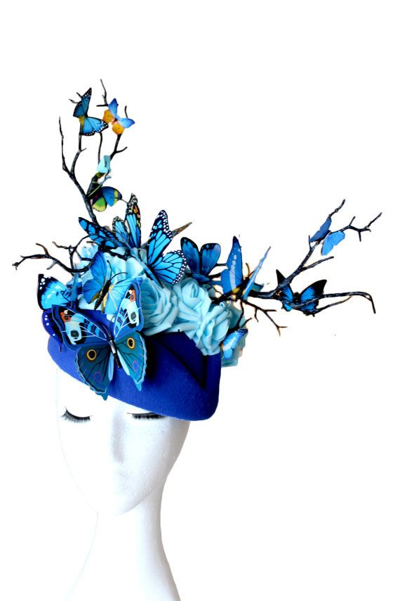 Royal Blue Butterflies Hat Blue Flowers and Butterfly