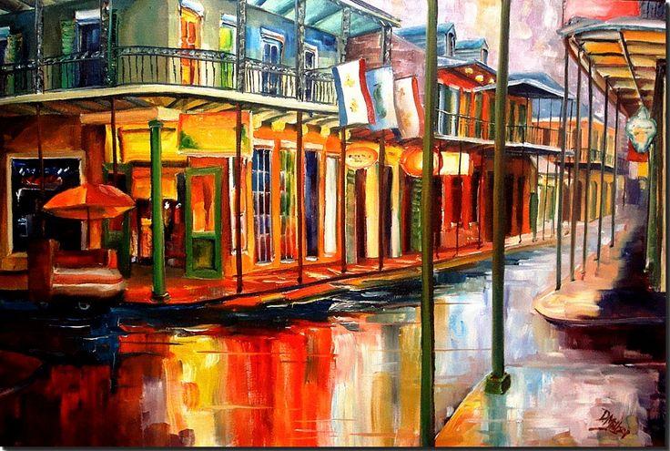 New Orleans' French Quarter - New Orleans Art by Diane Millsap: Downpour on Bourbon Street by Diane Millsap