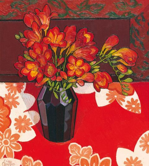Freesias on Japanese Silk 1999 -Chriss Canning Australian Artist