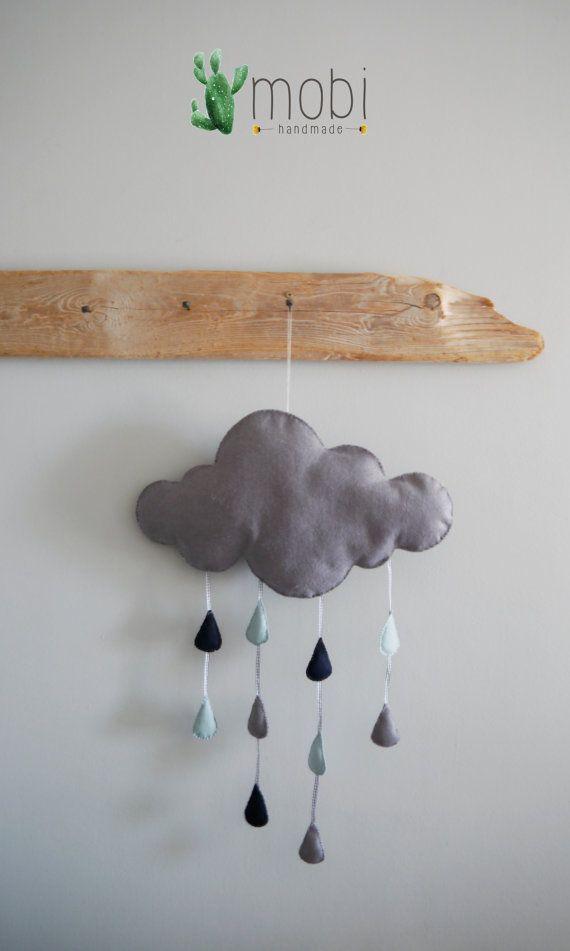 Large Handmade Hanging Raindrop Cloud  by MobiHandmadeShop on Etsy
