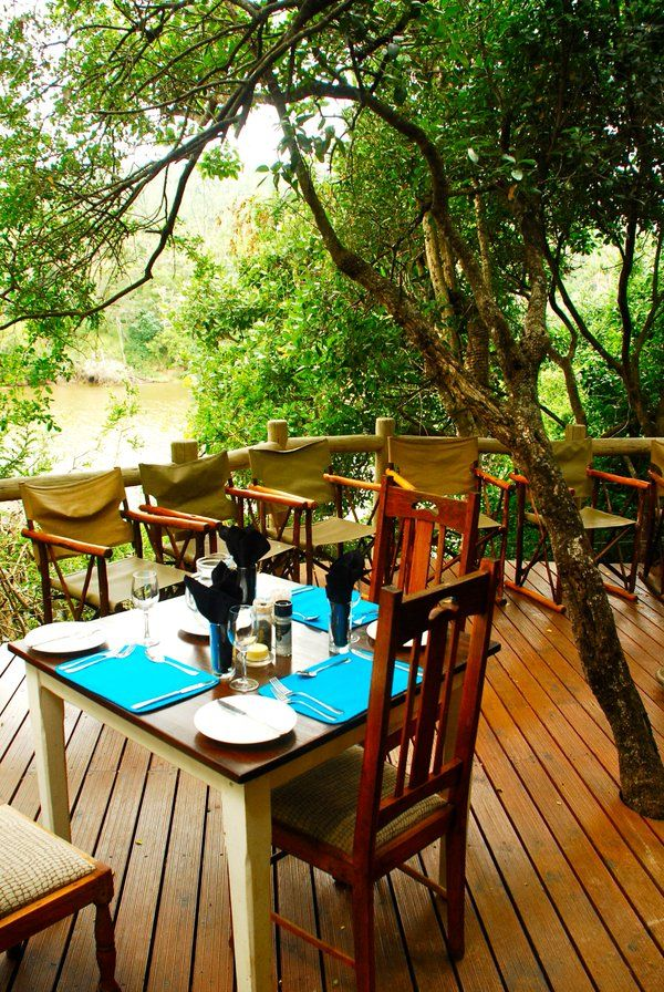 The lunch table set on the river view deck at Sibuya Game Resere River Camp #relaxation #cuisine #unwind #enjoy #peaceful http://www.sibuya.co.za