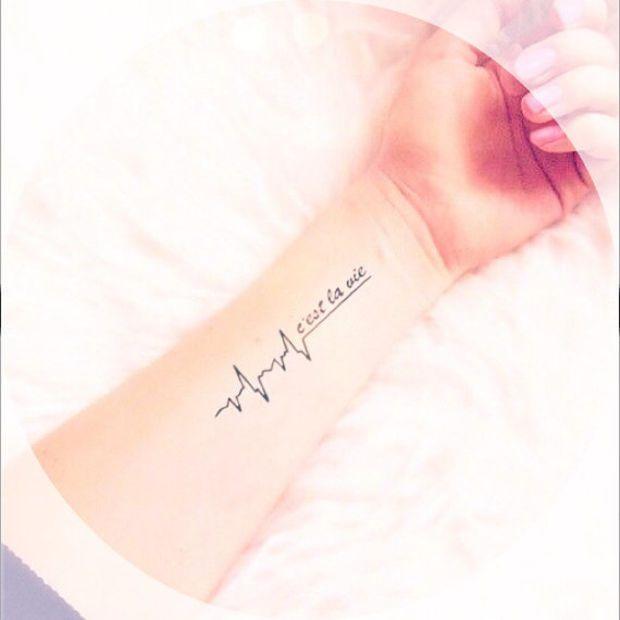 2pcs C'est La Vie heart pulse tattoo - InknArt Temporary Tattoo - wrist quote tattoo body sticker fake tattoo wedding tattoo small tattoo