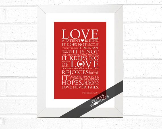 Christian Scripture art, Red Custom Print in a frame bible verse - Love is 1 Corinthians 13:4 7 by petra's wonders