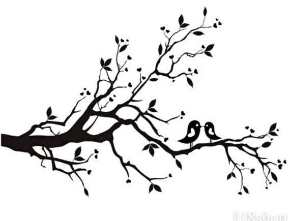 Vinyl Wall Art Birds On Branch 24 X12 Tree Sketches Silhouette Art White Bird Tattoos