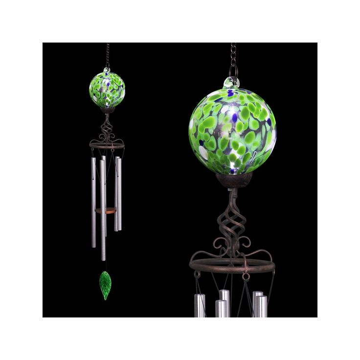 Solar Spotted Green Glasetal Wind Chime Dimensions 5 X 32 Made Of Durable Metal And Glass Ed Led Lights Turns On