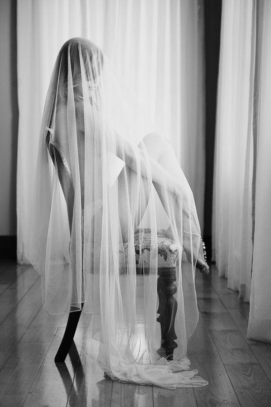 Wedding Veils & Window Light-beautiful idea for a pre-wedding boudoir shoot