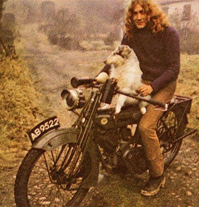 "Robert Plant and his collie Strider.  The song ""Bron-Y-Aur Stomp"" was about him."