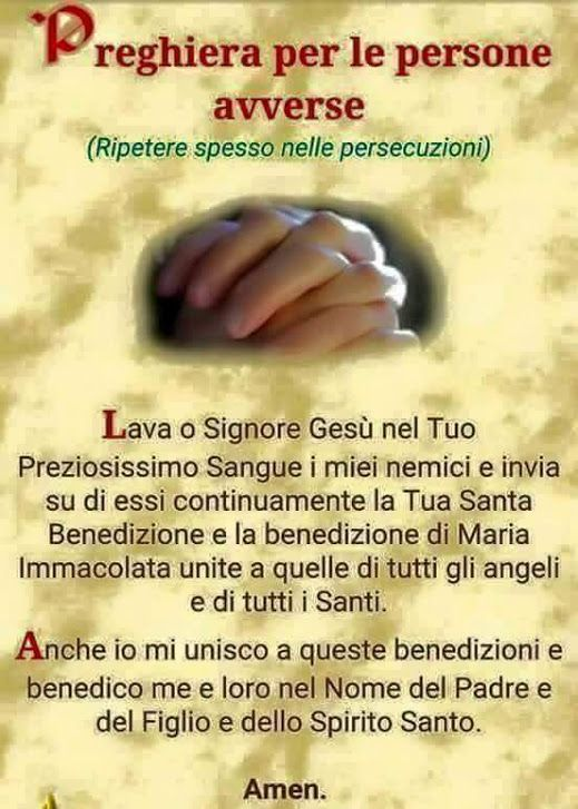 preghiera per le persone avverse