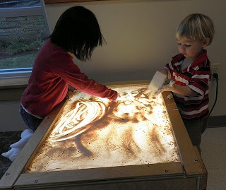 Very nice sensory activity: light table meets sandbox