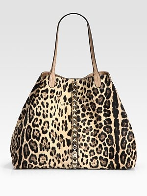 Valentino Va Voom Studded Leopard-Print Calf Hair Tote Bag