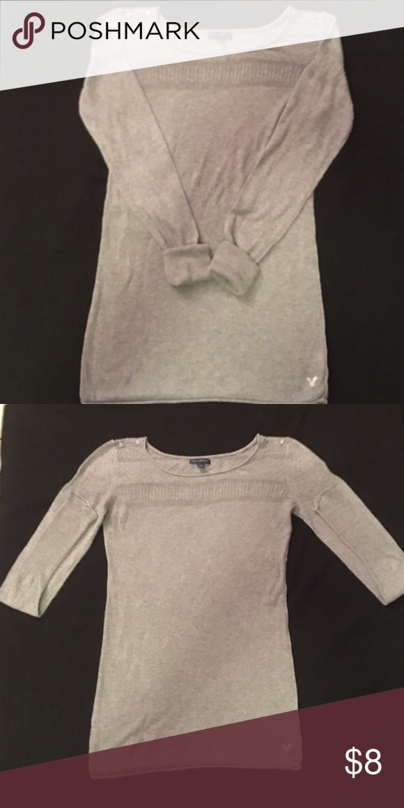 American Eagle Ladies long sleeve top American Eagle Grey Long sleeve knit top size medium. In like new condition. American Eagle Outfitters Tops Blouses