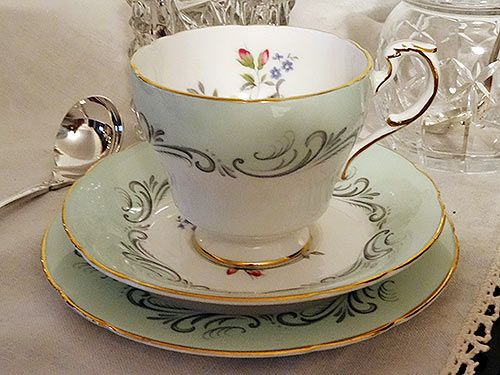 Paragon fine bone china tea cup saucer and plate for hire. Named Romance