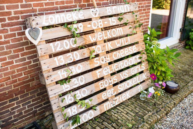 DIY houten tijd schema bruiloft pellet