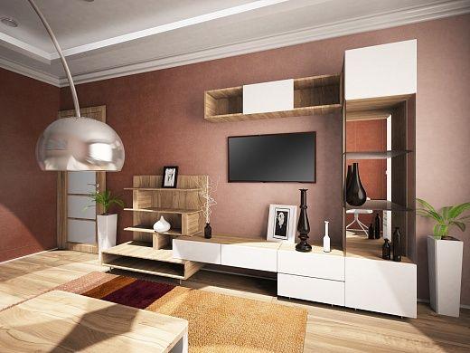 Гостиная выполнена в стиле всей квартиры. Но имеется в комнате и много ярких элементов, а именно — прямой кожаный раскладной диван-кровать, архитектурное панно, узкий стеллаж от пола до потолка, похожий на бутон на стебле торшер.