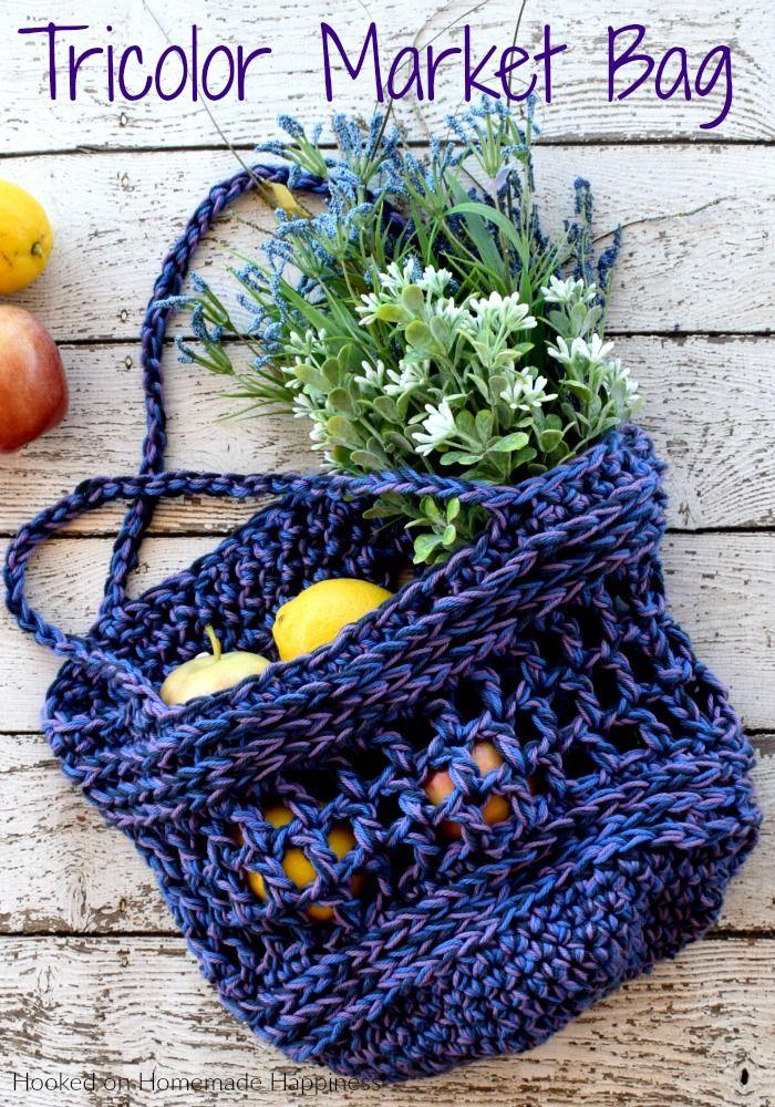 Tricolor Crochet Market Bag Pattern Craft Pinterest Crochet