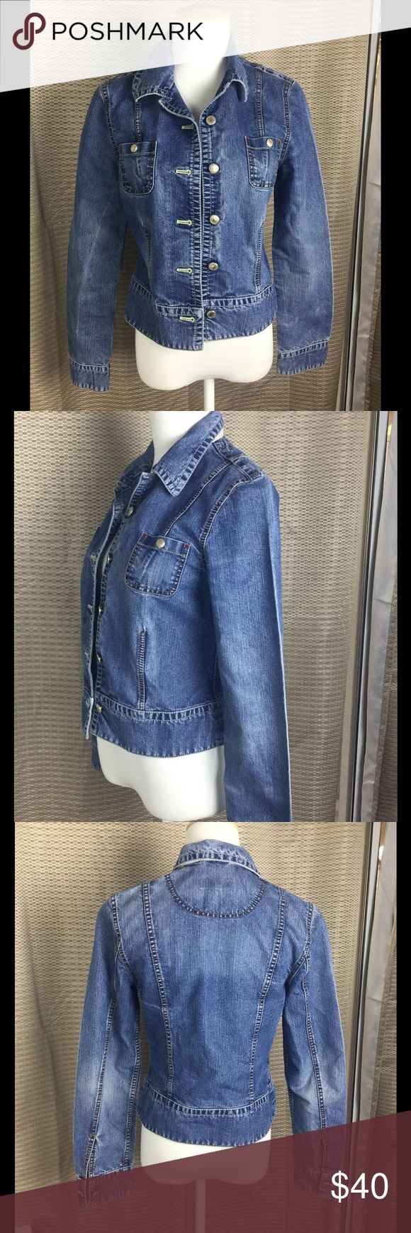 "🆕Listing. Escada Sport Designer Jacket.  Sz 36🌟 Love this Escada denim jacket.  Waist 17"". Waist 15"". Length 20"". In good condition.  Love love this jacket! Escada Jackets & Coats"
