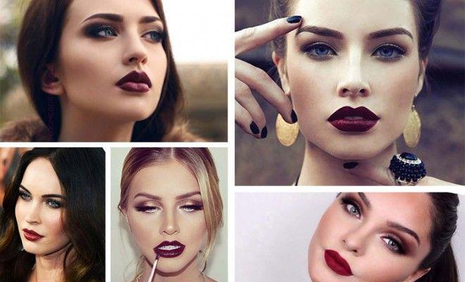 19 υπέροχες προτάσεις φθινοπωρινού μακιγιάζ με σκούρα κόκκινα χείλη