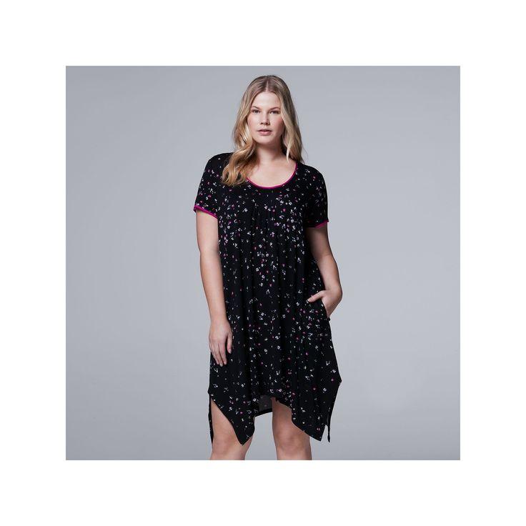 Plus Size Simply Vera Vera Wang Pajamas: Whisper Garden Sleep Shirt, Women's, Size: 2XL, Oxford