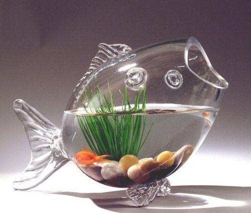 fish shaped glass fish bowl aquarium hand blown glass fish shaped fish bowl decorative - Decorative Glass Vases