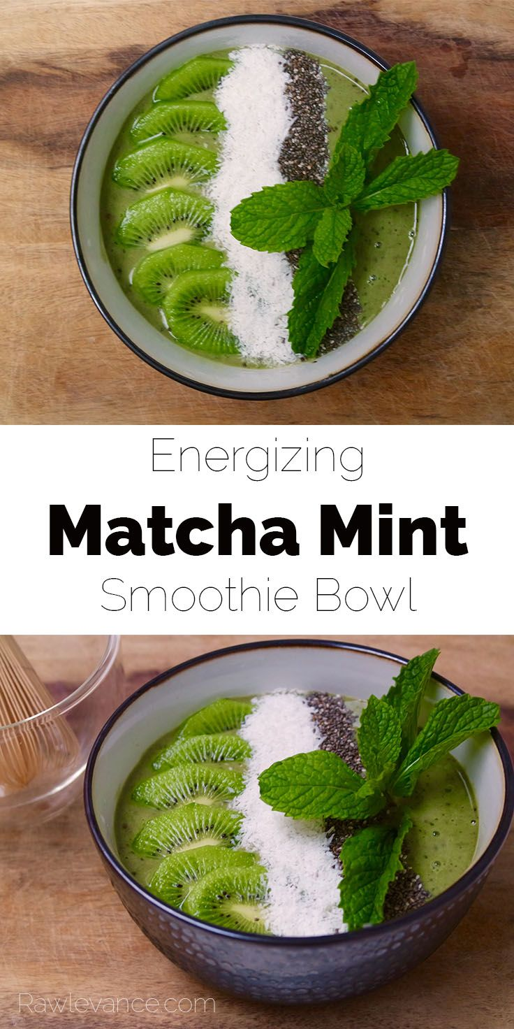 This energizing matcha mint smoothie bowl is a delicious way to kickstart your day!   Rawlevance.com
