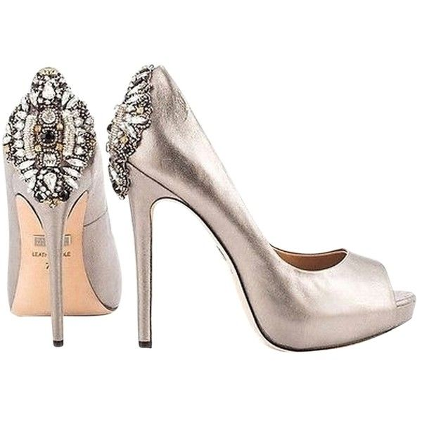 Pre-owned Badgley Mischka Dree Metallic Wedding Evening Heels Pewter...  ($161