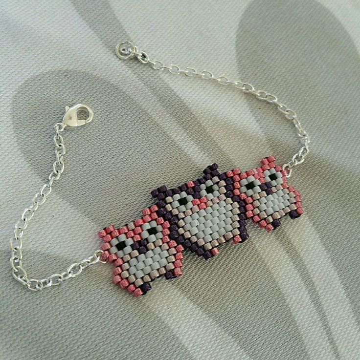 Bracelet chouette réalisé en perles miyuki