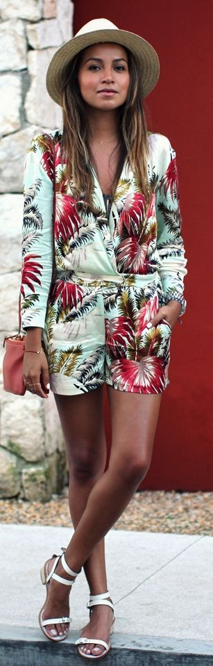 Topshop Tropical suit, white hat and Loeffler Randall Sandals by Sincerely Jules => Click to see what she wears