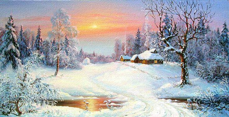 Уютный зимний дом на закате