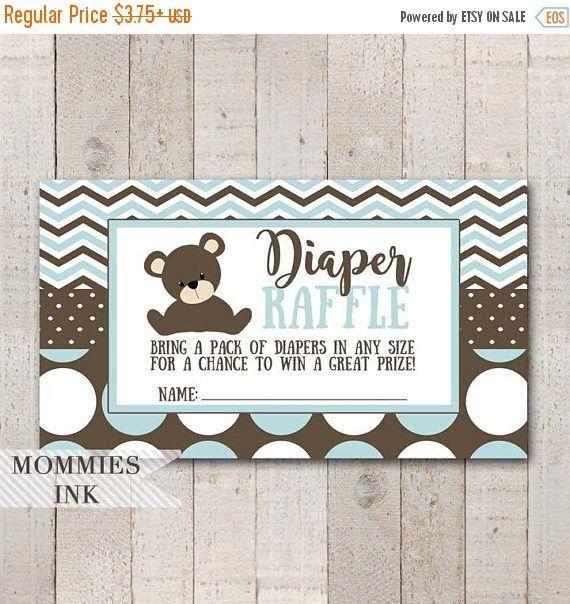 25% OFF SALE Teddy Bear Diaper Raffle Ticket, Chevron Diaper Raffle, Printable Raffle Ticket, Baby Shower Raffle Ticket, DIY, Baby Shower Pr by MommiesInk on Etsy https://www.etsy.com/listing/549583737/25-off-sale-teddy-bear-diaper-raffle