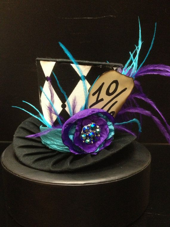 Purple and Teal Mad Hatter Mini Top Hat. Great for Birthday Parties, Tea…