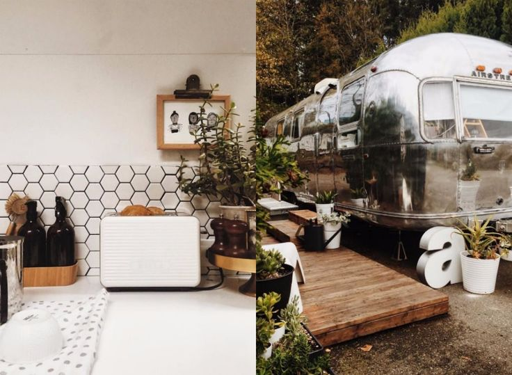 This cozy vintage Airstream that's teeming with plants.