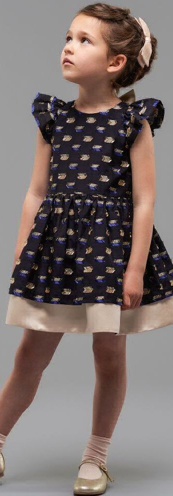 SALE !!! HUCKLEBONES LONDON Girls Designer Blue Party Dress with Bows. Super Cute Party Look for Girls. Eye Catching Special Occasion dress in silky midnight blue with pink satin bows. Designed in London. Now on Sale!  #shopthelook #kidsfashion #fashionkids #girlsdresses #childrensclothing #girlsclothes #girlsclothing #girlsfashion #cute #girl #kids #fashion
