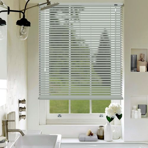 A Made To Measure Grey Aluminium Venetian Blind In Matt Finish, Offered In  A 25mm