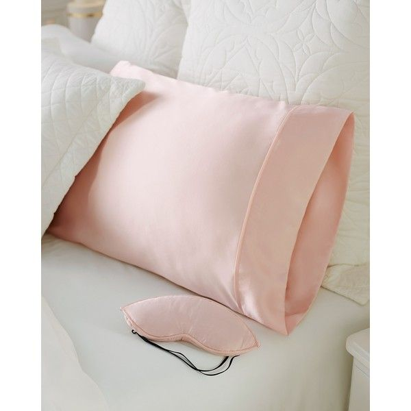Soma Silk Eyeshade and Pillowcase ($96) ❤ liked on Polyvore featuring home, bed & bath, bedding, bed sheets, pink, silk pillowcase, silk pillow case, pink pillow cases, silk bed linen and pink bedding