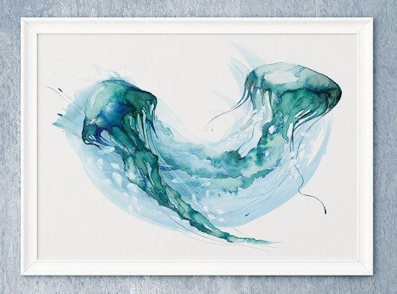 £12.99 Jellyfish Painting wall art sea ocean nautical