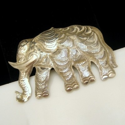 Large ornate sterling elephant brooch my lucky elephant jewelry elephant elephant jewelry - Safari murano jewelry ...
