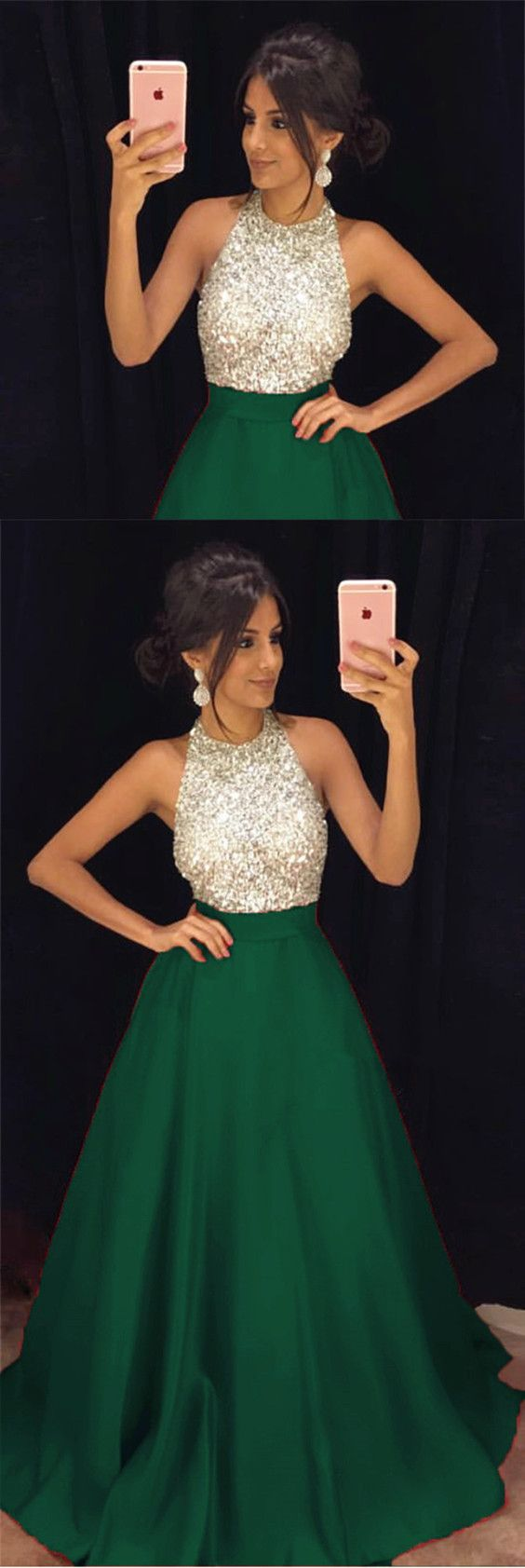 halter prom dress,satin ball gowns,ball gowns prom dress,beaded prom dress,luxurious evening gown,emerald green prom dress,dark green evening dress