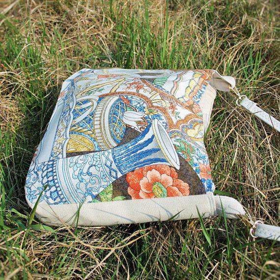 Japanese Style Crossbody Bag / Large Cotton Shoulder Bag /