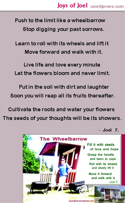 the wheelbarrow, inspirational poem about life, joys of joel poems, poem about wheelbarrow,  rhyming poems about hope, faith, love, beautiful poem