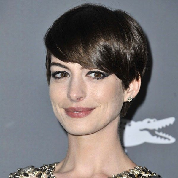 Anne Hathaway with longer cropped hair