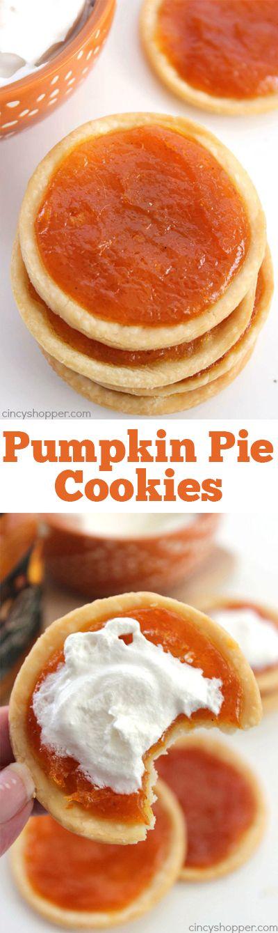 Easy Pumpkin Pie Cookies -Pumpkin Pie in the form of a cookie. Fall is ...