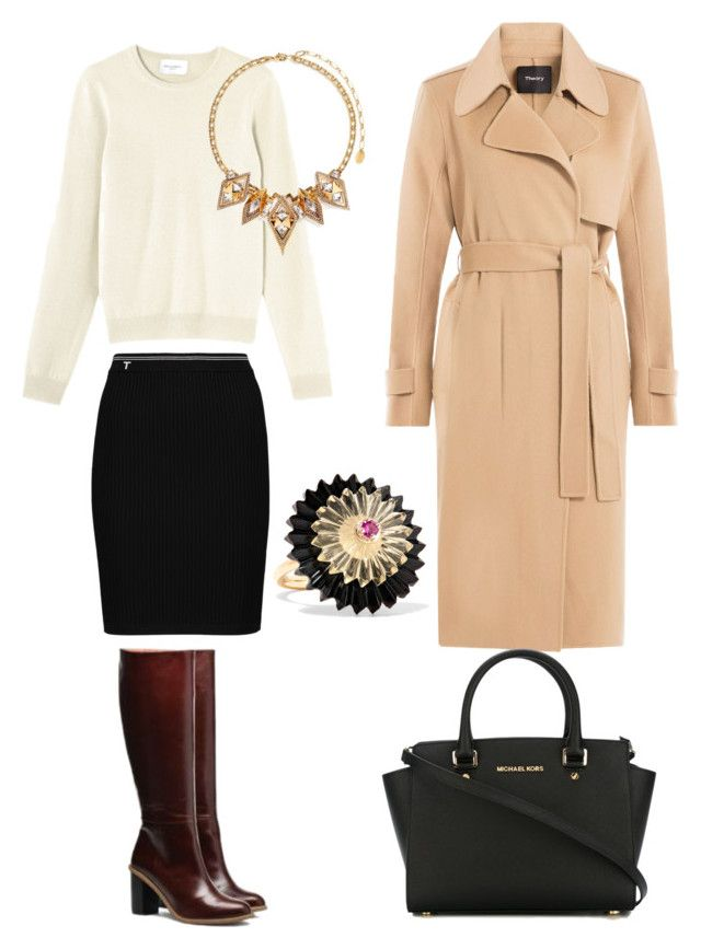 """""""Bottes + jupe crayon"""" by onemumshow on Polyvore featuring mode, T By Alexander Wang, Erickson Beamon, Theory, MICHAEL Michael Kors et Alice Cicolini"""