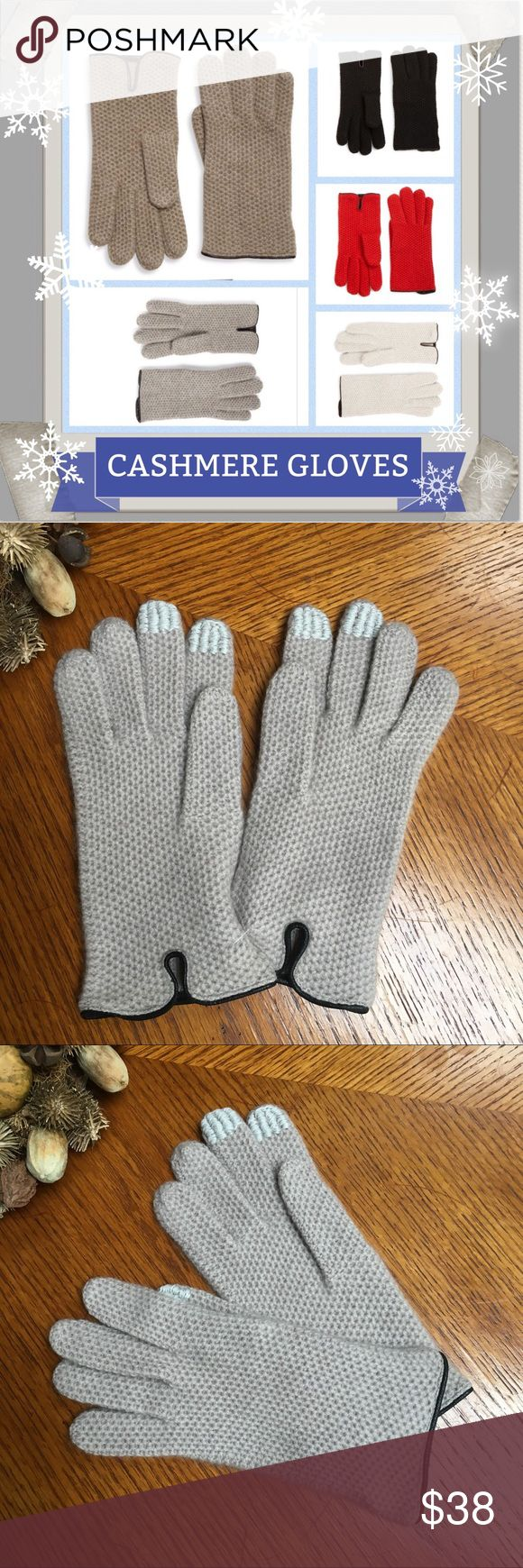 ❄️NWT Cashmere Gloves❄️ Cozy gloves designed in a textured, honeycombed-weaved Cashmere and finished with rich leather trim. Colors: Black, Light Grey, Coffee & Grain Heather. 100% Cashmere/Leather. One Size fits all. NWT. This gloves selling at Saks fifth avenue for $95. Makes a great gift 🎁! If you have any questions, please ask! 💞 Cashmere Accessories Gloves & Mittens