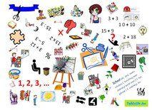 Zoekprent thema school (doewoorden) om met anderstalige nieuwkomers en leerlingen Nederlands te oefenen.