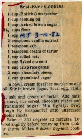 Best-Ever Cookies. :: Historic Recipe