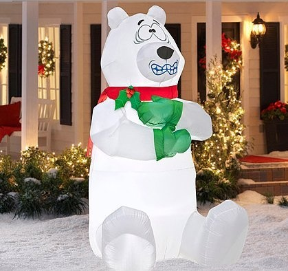 5 39 tall airblown shivering polar bear for Airblown christmas decoration
